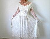 Vintage Beaded Lace  Wedding Dress Off shoulder Gown
