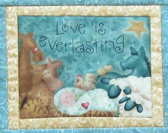 Love is everlasting mini wall quilt or mug rug