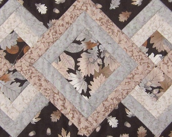 Brown Tan and Grey Fall Leaf Table Runner