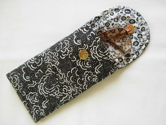Glasses Case Quilted Designer Fabric White on Black