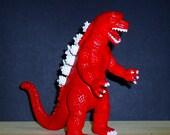 Godzilla / Kitsch figurine / Home decor / Altered plastic toy / Neon red / white / animal art / colorful