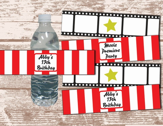 PRINTABLE PDF Hollywood Movie Party Theme Water Bottle Label Wrappers