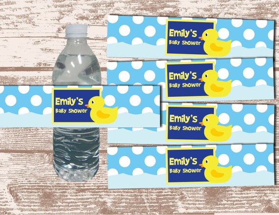 PRINTABLE PDF Rubber Duck Theme Birthday/ Baby Shower Custom Water Bottle Label Wrappers