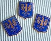 4 Rare Vintage 1950s / 60s Enameled Hearaldic Eagle Crests in Royal Blue