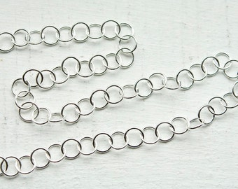 3 feet, Italian Sterling Silver 925 Sterling Chain, 5mm Round Links, M/R107