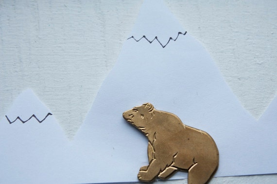 6 Vintage POLAR BEAR Stamping's Brass // Original old stock