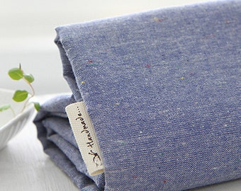 PopCorn vintage style Blue Linen blended 140cm Wide, U7081