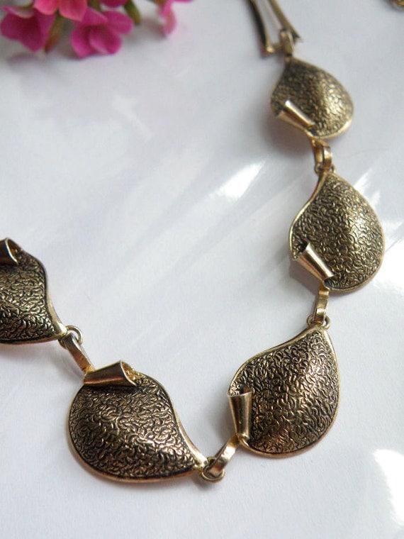 Vintage Vermeil Gold Over Sterling Silver 925 Designer Bond Boyd Leaf Vine Style Modern Necklace