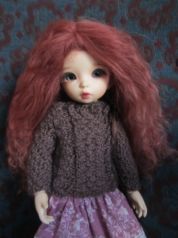 Lovely Dark Auburn mohair wig for Littlefee / other YoSD sized / Enyo / Unoa doll