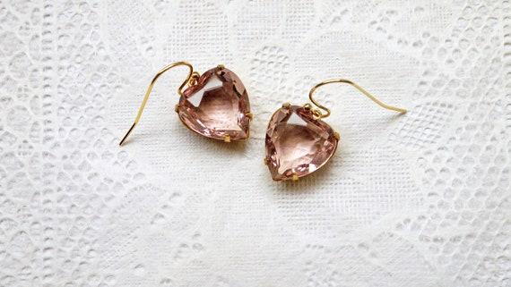 Vintage Light Amethyst Heart Shape Glass Jewel Earrings.Be My Valentine.