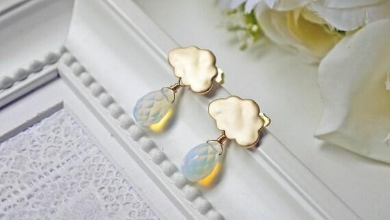 Matte Gold Rain Cloud Earrings. Rain Drops. Rainy Season. Post Earrings