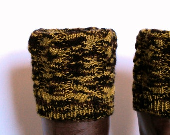 Boot Cuff/Boot Sock/Leg Warmer - Knitted in Black, Brown and Green