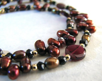Pearl Necklace, Red Pearl Necklace, Gold, Garnet Gemstone, January Birthstone - Cabernet