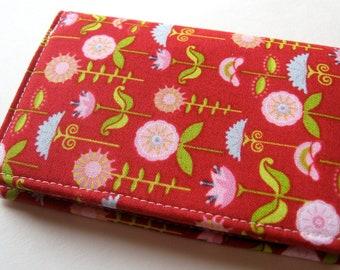 Credit Card Case, Business Card Cover - Love Birds Cranberry Garden - READY TO SHIP