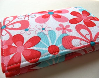 Business Card Case, Credit Card Cover - Nearby Floral Aqua - READY TO SHIP