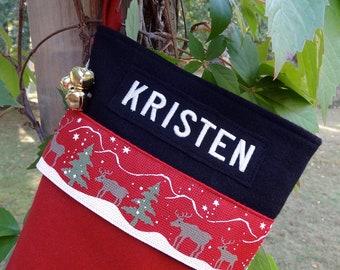 Woodland Reindeer Personalized Wool Christmas Stockings