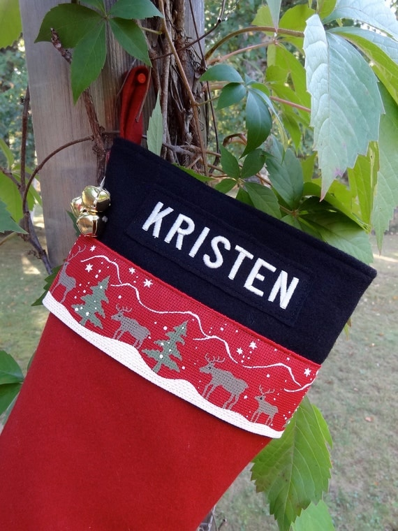Woodland Reindeer Personalized Wool Christmas Stockings