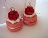 Raspberry French Macaron Sterling Silver Earrings