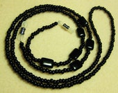 Lanyard Eyeglass Handmade Black Beads with silver eye glass holder - sunglass holder - eyeglass accessories