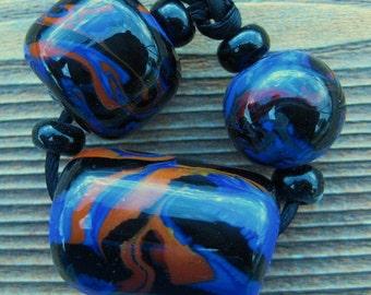 Handmade Lampwork Glass Beads - Blue Brown Black - Large Whole Beads- Abstract - Artisan Design