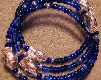 Handmade Beaded Memory Wire Bracelet, Aqua Blues, Fish, Seaside Design, Bangle Bradelet, Memory Wire, Artisan Design