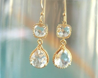Wedding Earrings  Gorgeous Crystal Drop and Gold Bridal Earrings.  Wedding, bridal, bridesmaid
