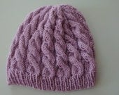 Cable Knit Purple Slouchy Hat