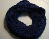 Lace Knit Navy Blue Infinity Scarf
