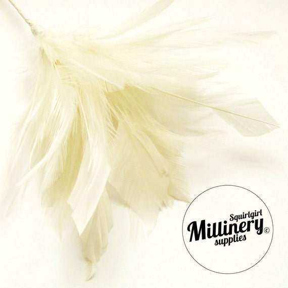 Ivory Hackle & Diamond Goose Feather Wired Millinery Hat Trim Mount
