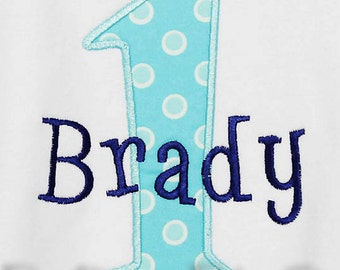 Boys First Birthday Shirt, Monogrammed, Number, Custom Fabrics, Girls or Boys, Shirt, Tank, Bodysuit, Romper