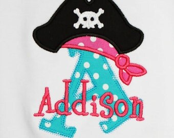 Personalized Pirate Initial Shirt, Monogrammed, Custom Fabrics, Colors, and Font, Custom Fabric Choices and Color, Girls Pirate Shirt