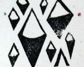Diamonds, unmounted, hand carved, stamp