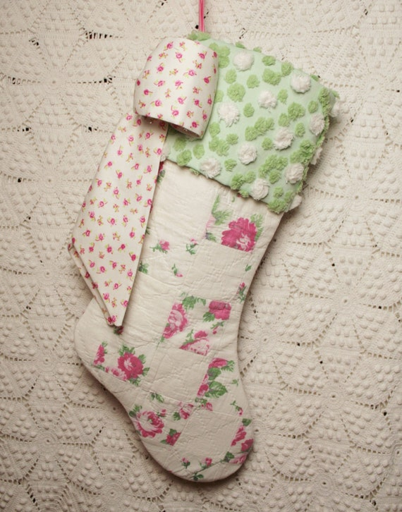Precious Pink Roses Vintage Quilt Stocking with Beautiful Handmade Vintage Chenille Cuff and Big Bow