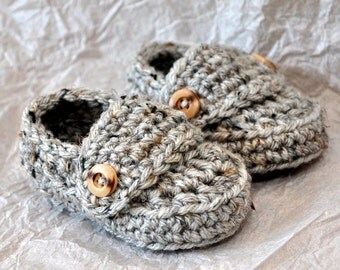 Baby Booties, Loafers in size 0 to 6 months or  6 to 12 months in Gray Marble Color