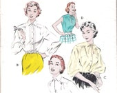 French Cuffs Vintage 50s Blouse Pattern34 bust Butterick 6617 size 16 Shirt Top S M 1950s