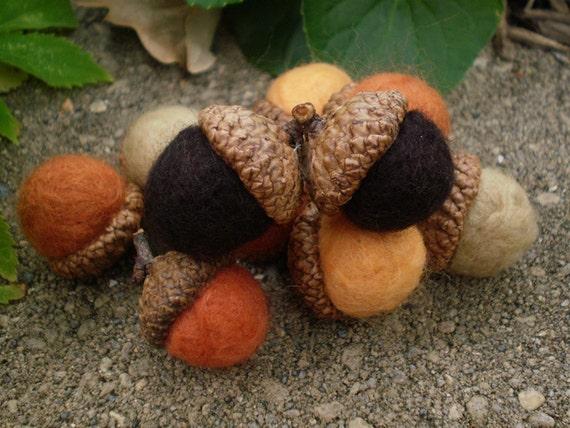 Harvest Hues Needlefelted Large Acorns - Set of 10 Brown, Rust, Orange, Almond, Squash