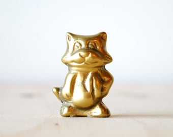 Vintage Brass Cat Holiday Figurine Cat in Winter Scarf Mid Century Modern