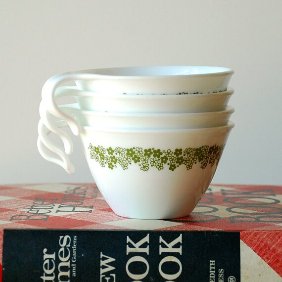 Set of 4 Crazy Daisy Teacups Corelle x Pyrex Spring Blossom Green Pattern