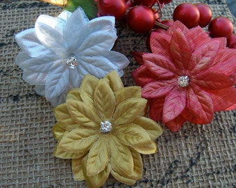 Sparkly Floral Hair Clips-Trio Set-Flower Hair Clips, Floral Hair Clips, Holidays, Gifts under 25, Family Photos, Gold Red Silver Sparkle