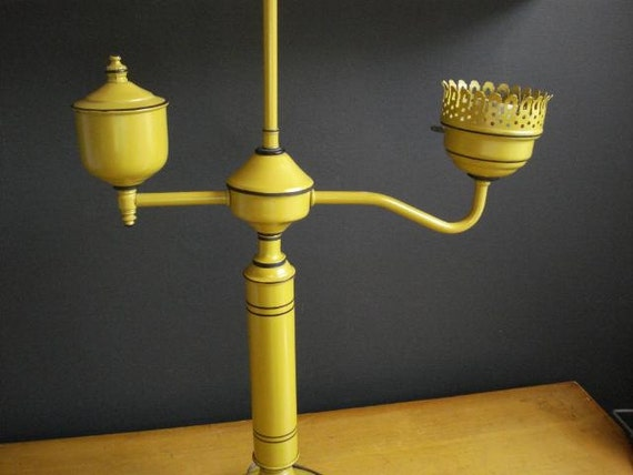 SALE - Mr. Mustard in the Library with the Lamp - Vintage Metal Lamp