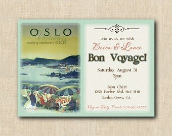 Bon Voyage - Moving - Travel Invitation - Vintage Travel Poster - New Home PRINTED INVITATIONS - Sold in packs of 10 includes envelope