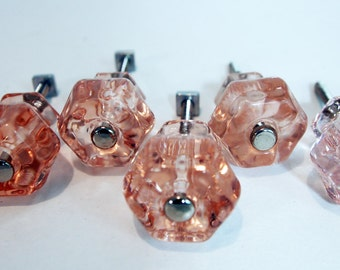 "Painted Cottage Real Glass Pink 1"".25 Knob"