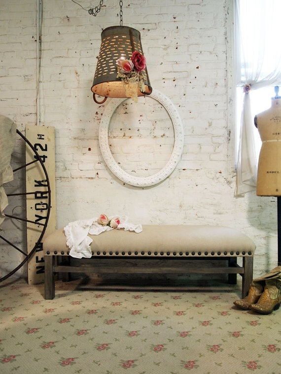 Painted Cottage Romantic Shabby Upholstered Farmhouse Bench CHR345