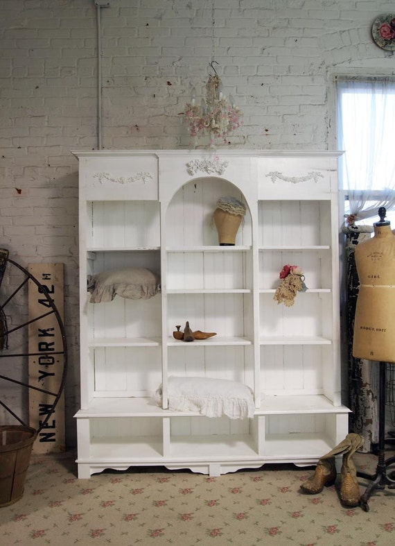 Painted Cottage Chic Shabby White Handmade Bookcase / Display Cabinet CC357