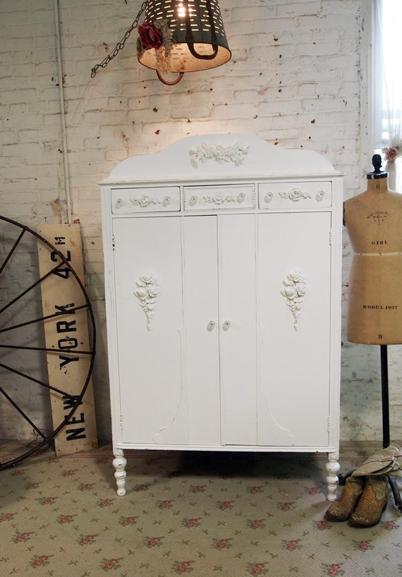 Painted Cottage Chic Shabby White Vintage Armoire AM257