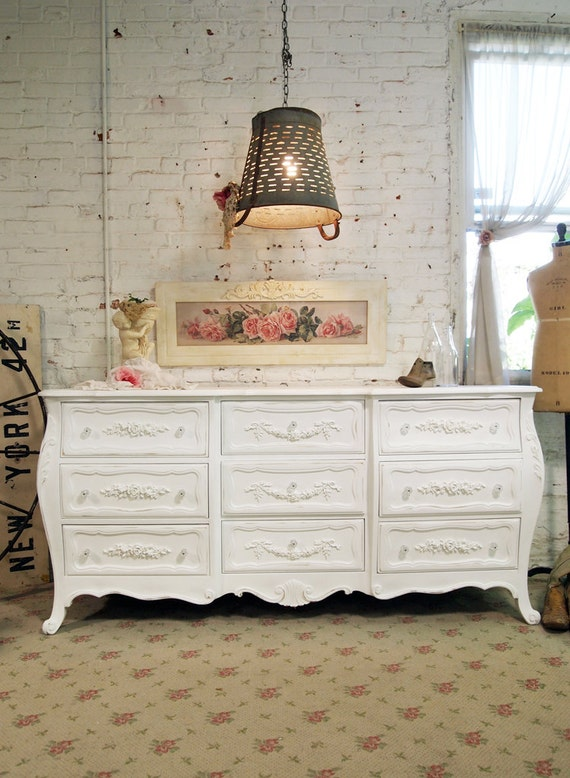 Painted Cottage Chic Shabby White Romantic Dresser DR429