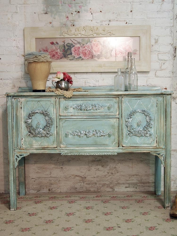 Painted cottage chic shabby aqua romantic buffet server sv294 - Muebles shabby chic ...