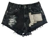 Boson Silver short studded black cutoff shorts