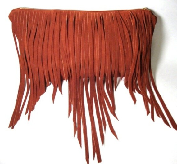 Bohemian leather clutch with fringe- Tobacco leather bag