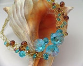 Turquoise and Brown Crystal Choker Set